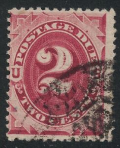 Scott J23- Used- 2c Postage Due- Bright Claret, Series of 1891- Back of Book