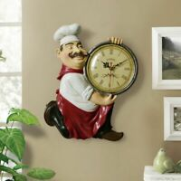 Wall Clock Restaurant Watch Chef Statue Designed Vintage Style Clocks Decoration