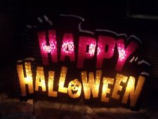 OUTDOOR LIGHTED HAPPY HALLOWEEN SHIMMERING JOL LIGHT WINDOW SIGN PARTY YARD PROP