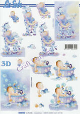 New Baby In Blue 3D Decoupage Sheet Card Making Paper Crafts *CUTTING REQUIRED*