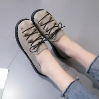 Chic Women Comfort Shoes Lace Up Casual Leather Oxfords Loafers Flats Shoes Gray