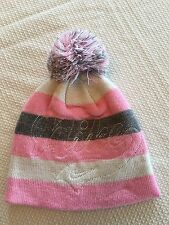 Nike Girls Beanie Pink White Grey Stripes Size 4-6X EUC