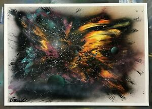 "Markus Fussell Original Spray Paint Art - ""Abstract Universe""- 14""X 20"""