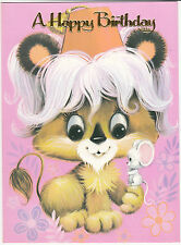 Vintage Happy Birthday Large Sized 1970's Greeting Card ~ Big Eyed Animals