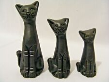 """SET OF THREE BLACK CATS 100mm & 85mm & 70mm IN SIZE """"LIKE NEW"""""""