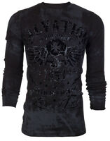 ARCHAIC by AFFLICTION Mens LONG SLEEVE THERMAL Shirt BLACK TIDE Skull UFC $58 a