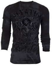 ARCHAIC by AFFLICTION Mens LONG SLEEVE THERMAL Shirt BLACK TIDE Skull $58 a