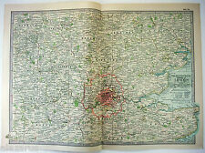 Original 1897 Map of The Vicinity of London, England by The Century Co. Antique