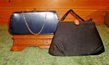 2 Vintage Handbags, 1 Mom's, 1 Grandma's, Clutch Purse & Silk Style Evening