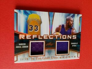 SHAQ SHAQUILLE O'NEAL & KAREEM ABDUL JABBAR GAME USED JERSEY CARD #15 ITG LAKERS