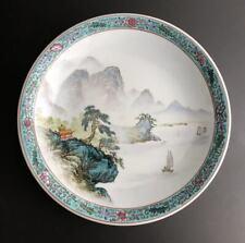 Chinese Jingdezhen Qianjiang Cai Porcelain Lanscape Pattern Plateï¼ˆä¸å›½æ™¯å¾·é•‡æµ …绛彩大盘)