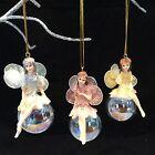 3 Pastel Iridescent Fairy Christmas Tree Decoration Gisela Graham Vintage Bauble