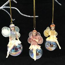 3 Pastel Iridescent Fairy Christmas Tree Decoration Gisela Graham Vintage Bauble