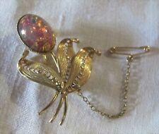 BROOCH Brazilian Opal Triplet PIN Safety chain Gold metal filigree 1960s Vintage