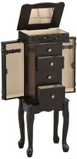 Jewelry Armoire Box Espresso Chest Stand Bedroom Furniture Necklace Organizer
