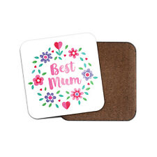 Adorable Best Mum Coaster - Cute Flowers Mother Floral Heart Love Gift #19138