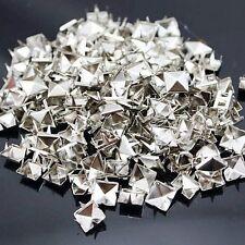 100 x Metal pyramid Silver studs 9mm stud Rivet Punk spike spots Diy