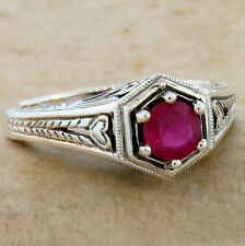 Sterling Silver Ring Size 5.75, #509 Genuine Ruby Antique Art Deco Design .925