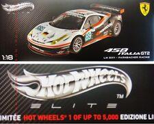 HOT WHEELS ELITE 1/18 FERRARI 458 ITALIA GT2 LM 2011 FARNBACHER RACING X5473