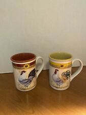 Gibson USA-Eveyday Ceramic Coffee Mugs-Rooster/Sunflower Design  LOT OF 2