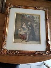 George Baxter print First Impressions 1850 in Original Frame-Amazing Color!