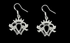 New Crown Dove Heart Luckenbooth Claddagh Earrings Sterling silver .925 Jewelry