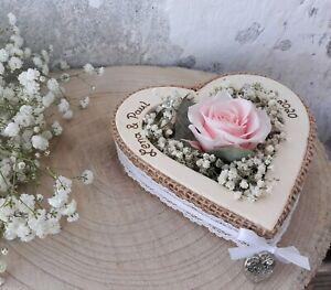 Hochzeit Ringkissen Ringhalter Herz Rose Loveliness rosa für Eheringe mit Namen