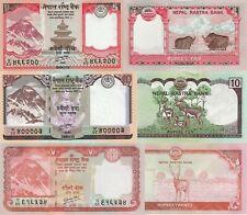 Nepal 3 Note Set: 5, 10 & 20 Rupees (2012) - p69, p70, p71 UNC