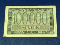GERMANY - 100 000 MARK  BANKNOTE 1923- STUTGART-INFLATION - VERY FINE