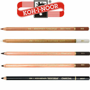 KOH I NOOR GIOCONDA ARTIST PENCILS CHARCOAL WHITE SEPIA LIGHT DARK ART DRAWING
