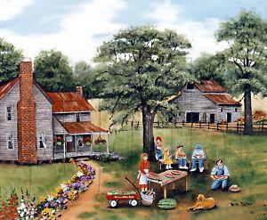 Primitive America Folk Art Print Summer Red Wagon Farm Arie Taylor Red Wagon