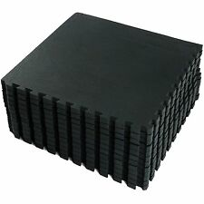 64 SQ FEET Interlocking Foam Mats Tiles Gym Play Garage Workshop Floor Mat Black