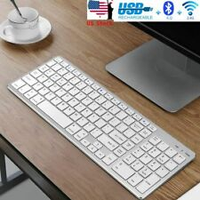 Bluetooth Wireless  Keyboard for Mac iOS Android Windows Computer Space white