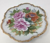 Rossini Vintage Chintz Roses Plate Gold Trim Raised Porcelain Wall Hanging