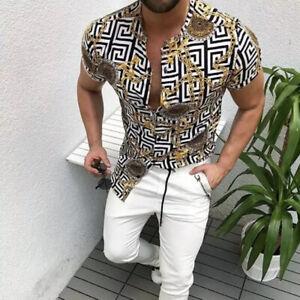 Baroque Style Resort Pattern Shirt Gold Hawaiian Print Leopard Muscle S M L XL