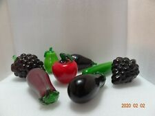 Vintage Murano Style Art Glass Fruits & Vegetables Lot Of 8