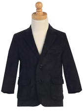 Navy Blue Boys Blazer Casual Sport Suit Jacket Corduroy Wedding Graduation 605