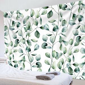 Watercolor Eucalyptus Green Leaves Plant Tapestry Wall Hang Living Room Bedroom