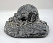 Al Wolf Handmade Soapstone Carving Made in Canada Mother & Child Igloo Scene