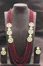 "24"" Long 22k Gold Plated CZ Polki Kundan Ruby Emerald Turquoise Necklace Mala"