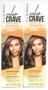 2 Clairol 1.5oz Color Crave Shimmering Bronze Wash Out Dark To Light Hair Makeup