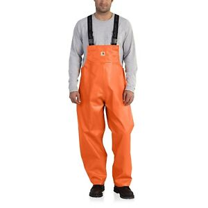 Carhartt Men 101982 Belfast PVC Rain Bib Overalls  Waterproof Orange 2XL