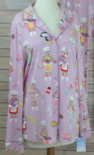 NICK & NORA *NWT* Lavender Chef Sock Monkey Pajama Top