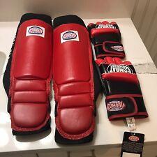 Kick Boxing Gloves And Grappling Shinguard  Set.Combats Sports International.