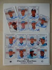"""11 - 1993 Florida Marlins Autographs Pasted On An 8 1/2' X 11"""" Sheet"""