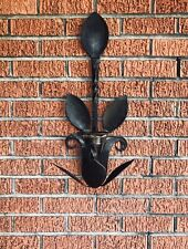 LARGE! Vintage Cast Wrought Iron Candle Holder Wall Mount Sconce - Flower Design