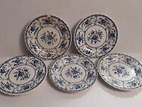 "GUC Antique ""Indies Blue"" Johnson Brothers Dessert Plates Set of 5 (England) HTF"