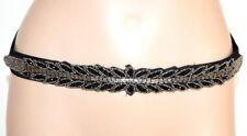 CEINTURE femme noir eco cuir élastique strass cristaux élégant cadeau fête F65