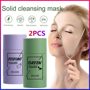 2PCS Green Tea Purifying Clay Stick Solid Mask Acne Blackhead Remover Cleansing-