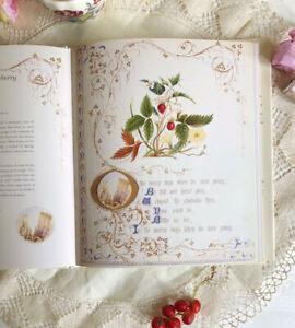 Vintage book Victorian Botanical flowers Illustrations Antique fonts Calligraphy